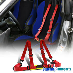 1x Jdm Racing Seat Belts 4 Point 4pt Safety Harness Red