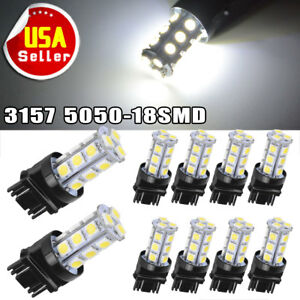 10x White 3157 3156 5050 18 Smd Led Tail Brake Stop Backup Reverse Light Bulbs
