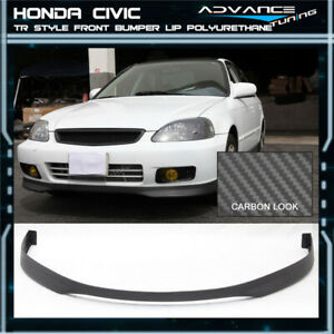 For 99 00 Civic 4dr T r Pu Front Bumper Lip Carbon Fiber Texture
