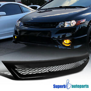 For 2006 2008 Civic Si 2dr Coupe Honeycomb Type Grill Hood Mesh Grille R Black