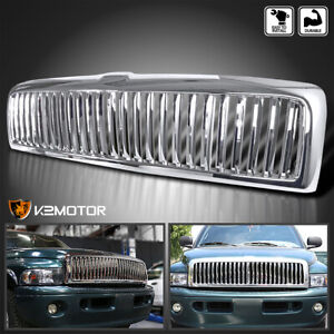 1994 2001 Dodge Ram 1500 2500 3500 Front Vertical Chrome Hood Grill Grille Cover