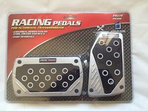 Univarsal Fit Black silver Racing Style Foot Pedals Pad Covers Auto Transmission