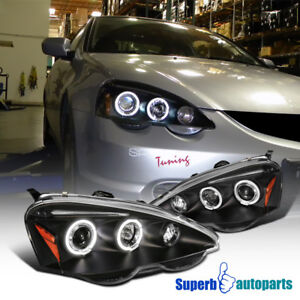 For 2002 2004 Acura Rsx Led Halo Projector Headlights Black Replacement Pair
