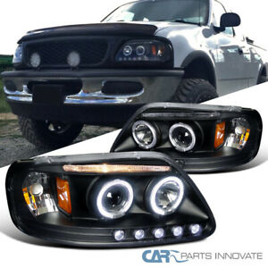 For 97 03 Ford F150 Expedition Pickup Matte Black Dual Halo Projector Headlights