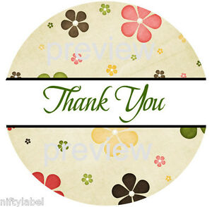 Flower Power Design 113 Thank You Sticker Labels Laser Printed