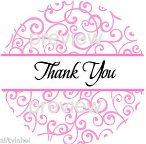Pink Swirls Design 115 Thank You Sticker Labels Laser Printed
