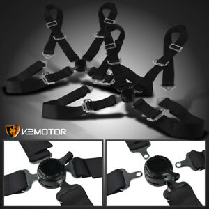 2x Universal Black 4 Point Camlock Racing Safety Seat Belts Harness Pair