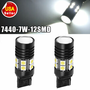 2x White 7440 12smd Led Light Bulbs Turn Signal T20 7w High Power Projector