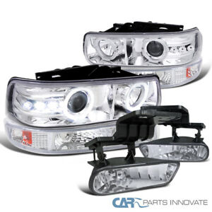 99 02 Chevy Silverado Clear Halo Projector Headlights bumper Lights fog Lamps