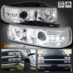 For 1999 2002 Chevy Silverado Led Dual Halo Projector Headlights Clear Lamps