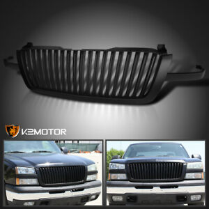 2003 2005 Chevy Silverado Avalanche Matte Black Vertical Front Hood Grille