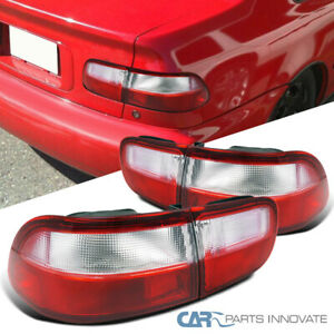 For 92 95 Honda Civic 2 4dr Coupe Sedan Red clear Tail Lights Rear Brake Lamps