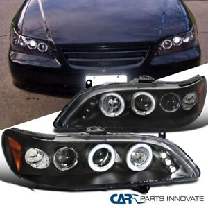 For Honda 98 02 Accord 2 4dr Led Halo Projector Headlights Driving Lamps Black