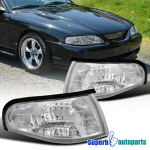 1994 1998 Ford Mustang Chrome Corner Lights Signal Lamps Clear