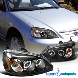 For 2001 2003 Honda Civic Jdm Projector Headlights Head Lamps Black Specd Tuning