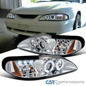 Ford 94 98 Mustang Cobra Gt Led Halo Projector Headlights Lamp Chrome