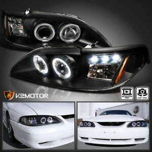 For 1994 1998 Ford Mustang Led Halo Projector Headlights Left Right Black