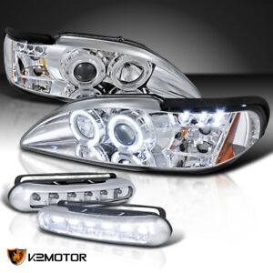 94 98 Mustang Chrome Halo Projector Headlights running Daytime Fog Lamps