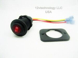 Waterproof Led Rocker Toggle Switch Spst Marine 12v Panel Round Lighted Boat Red