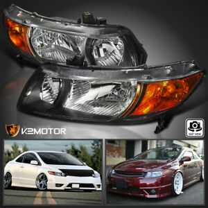 For 2006 2011 For Honda Civic Coupe 2dr Headlights Lamps Black Left right Pair
