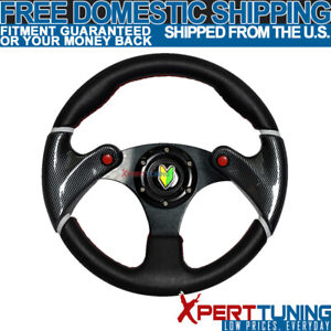 320mm Racing Steering Wheel Carbon Look Whole Black Pvc Leather With Red Stitch