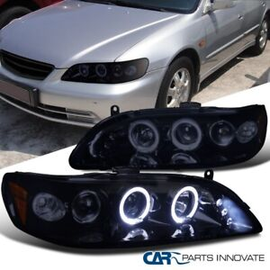 Glossy Black For Honda 98 02 Accord 2 4dr Tinted Led Projector Headlights Lamps