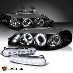 Fit 1992 1995 Civic Halo Black Projector Headlights W front Led Fog Lamps