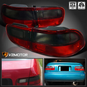 For 1992 1995 Civic Coupe Sedan 2 4dr Smoked Red Tail Brake Lights