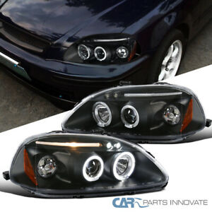 Fit Honda 96 98 Civic 2 3 4dr Led Halo Projector Headlights Lamps Black Pair