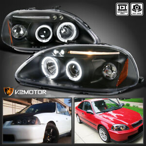 For 1996 1998 Honda Civic Black Led Halo Projector Headlights Lamps Left right