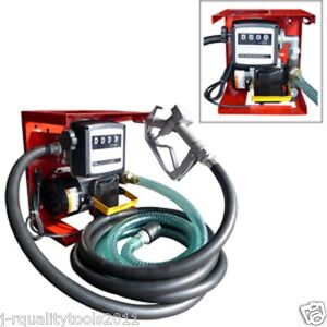 New 110v Electric Oil Fuel Diesel Gas Transfer Pump W meter 12 Hose Manual