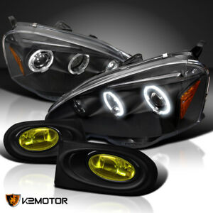 02 04 Acura Rsx Jdm Halo Black Projector Headlights Yellow Driving Fog Lamps