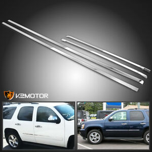 2007 2009 Chevy Tahoe Stainless Steel 4pc Side Door Trim Body Molding Overlay