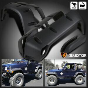 6pc 97 06 Jeep Wrangler Tj 7 Wide Black Pocket Extended Fender Flares Kit