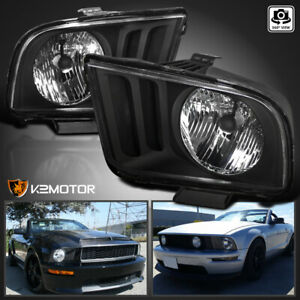 For 2005 2009 Ford Mustang V6 V8 Black Headlights Head Lights Lamps Left Right