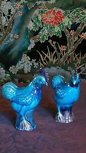 Pair Chinese Export Turquoise Blue Glazed Pottery Rooster Statues