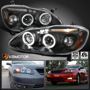 For 2003 2008 Toyota Corolla Led Halo Projector Headlights Lamp Black Left Right