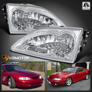 1994 1998 Fit Ford Mustang Crystal Clear Lens Headlights Head Lamps Left Right