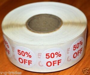 Lot 1000 Self adhesive 50 Off Labels 3 4 Stickers Tags Retail Store Discount