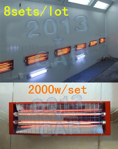 Spray Baking Booth Infrared Paint Curing Lamp Heating Light Heater 8 Sets 2kw