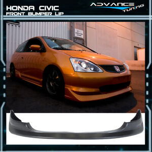 For 03 05 Honda Civic Si 3 Door Hatchback Front Bumper Lip Pu Material Aw Style