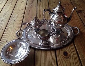 Vtg Wm Rogers Silver Plate Coffee Tea Set With 5pcs Candy Bowl