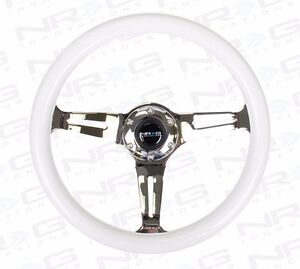 Nrg Steering Wheel 350mm Luminor White Glow In The Dark Wood W Chrome Spokes