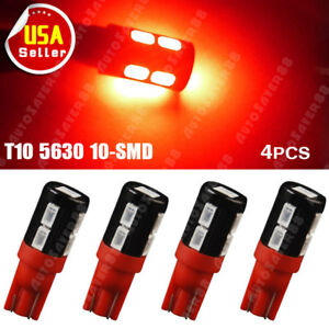4pcs Red T10 Wedge High Power 5630 10 Smd Led Interior Light 168 192 194