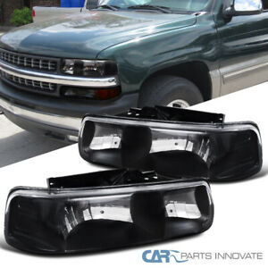 Chevy 00 06 Suburban Tahoe 99 02 Silverado Pickup Black Headlights Driving Lamps