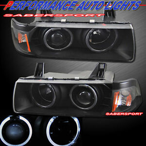 Pair Black Halo Projector Headlights For 92 98 Bmw E36 3 Series Sedan And 318ti