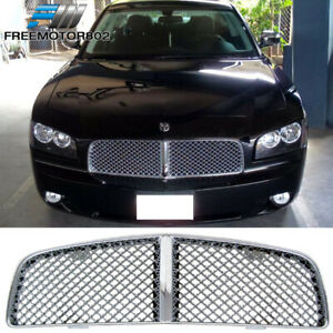 For 05 10 Dodge Charger Mesh Style Chrome Front Grille Grill Abs