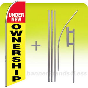 Under New Ownership Swooper Flag 15 Kit Feather Flutter Banner Sign Yb