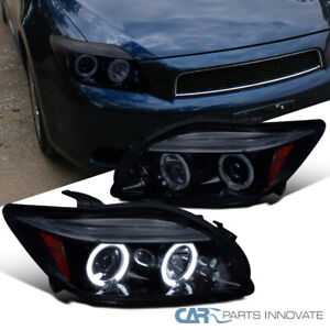 New Glossy Black 05 10 Scion Tc Smoke Led Dual Halo Projector Headlights Lamps