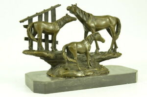 Equestrian Figure Three Horses Bronze Marble Base Statue Sculpture Art Deco Gift
